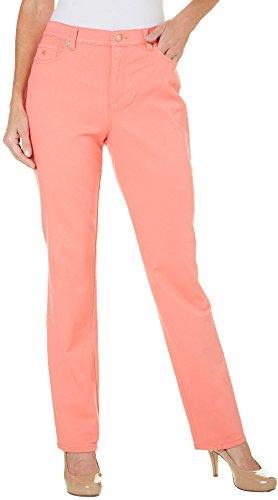 Gloria Vanderbilt Womens Amanda Stretch Jeans 10 Bright Hibiscus