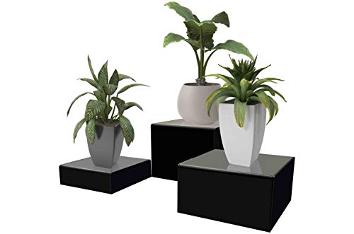Marketing Holders Cube Display Nesting Risers Showcase Collectables Pedestald for Trinkets Figurines Trophy Dolls Hollow Bottoms Acrylic Black Pack of 3 by Marketing Holders (Image #4)
