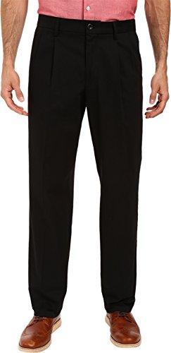 Khakis Stretch Cotton (Dockers Men's Signature Khaki Classic-Fit Pleated Pant, Black (Stretch) - 34W x 34L)