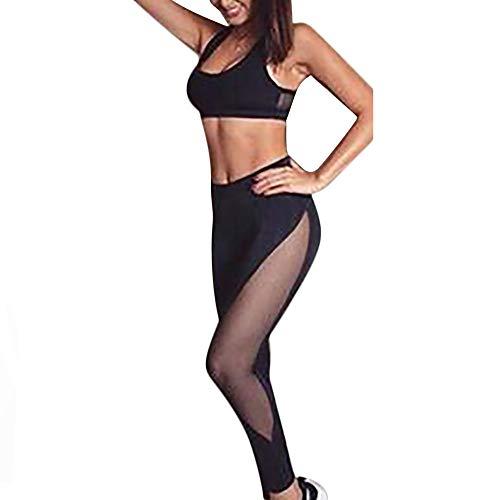 Drawer Five Inspired - Women Mesh Patchwork Skinny High Waist Leggings Elastic Long Pants+Tops Set(Black,S)