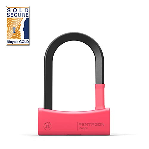 Seatylock Mason Sold Secure Gold Bicycle U-Lock with 17mm Thick Patented Triangular Crossbars, Double Deadbolt, and Drill Resistant Features – Heavy Duty Bike Lock with Keys
