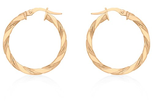 Carissima 9 ct Rose Gold 25 mm Twist Creole Earrings