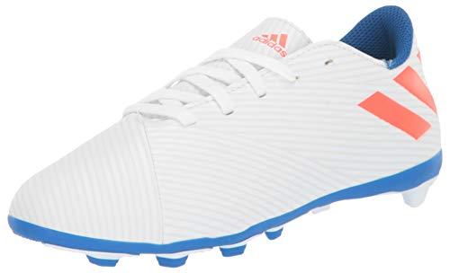 adidas Unisex Nemeziz Messi 19.4 Firm Ground J Soccer Shoe, White/Solar Red/Football Blue, 5.5 M US Big Kid (Indoor Soccer Shoes Messi Kids)