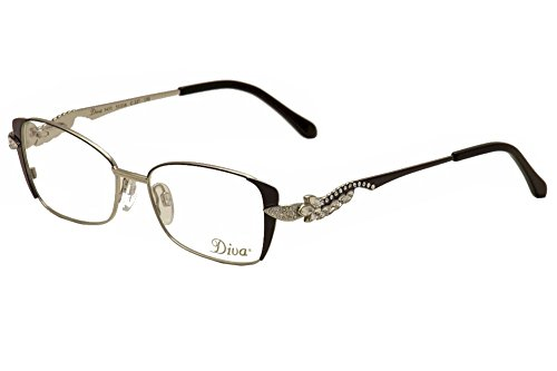 Diva Eyeglasses 5433 227 AnthraciteSilverCrystal Full Rim Optical Frame 51mm
