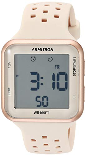 Armitron Sport Unisex 40/8417PBH Digital Chronograph Rose Gold-Tone and Blush Pink Perforated Silicone Strap ()