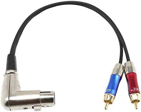 perfk XLRメス-デュアルRCAオスプラグ オーディオ Yスプリッターケーブル パッチケーブル マイクミキサースピーカー用