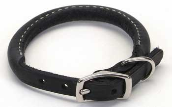 Circle T Black Rolled Leather Dog Collar – 12 in., My Pet Supplies