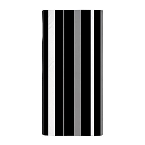 CafePress - Black, Grey And White Stripes - Large Beach Towe