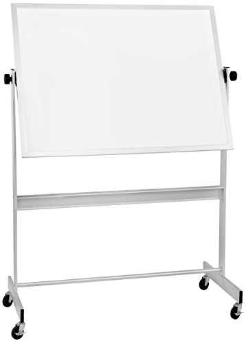 Best-Rite Deluxe Reversible Mobile Whiteboard, Porcelain Markerboard Both Sides, Aluminum Trim, Panel Size 4 x 8 Feet (668AH-DD)