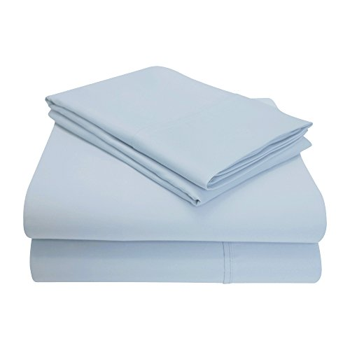Impressions Games 1200 Thread Count 4 Piece Cotton Blend Solid Sheet Set, California King, Light Blue