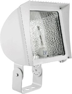 RAB Lighting FXH100TQTW/PC Metal Halide Flex Floodlight with Trunnion Mount, ED17 Type, Aluminum, 100W Power, 9000 Lumens, 120V Button Photocell, White
