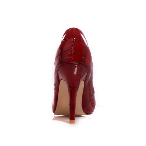 VogueZone009 Ladies Closed Pointed Toe High Heel Spikes Stitlettos PU Solid Pumps with Stone Pattern Red czUjcw7d