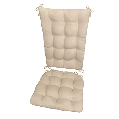Rocking Chair Cushions - Microsuede Chamois Mushroom - Extra-Large - Reversible, Latex Foam Filled Seat Pad and Back Rest - Made in USA (Microfiber Ultra-Suede)