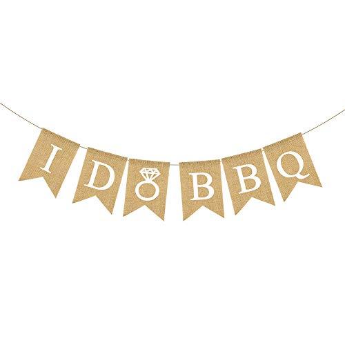 (Rainlemon Jute Burlap I Do BBQ Banner Wedding Shower Bridal Shower Engagement Party Garland)