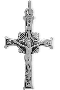 Large Sterling Silver Religious Crucifix with chain