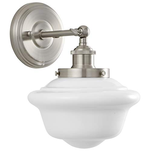 Linea di Liara Lavagna 1 Light Bathroom Vanity Brushed Nickel with Milk Glass Linea di Liara LL-WL271-MILK-BN price tips cheap