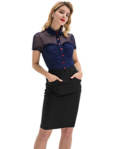 Womens Vintage Black Skirt Slim Fit Bodycon Midi Pencil Skirt with Buttons Black, Small