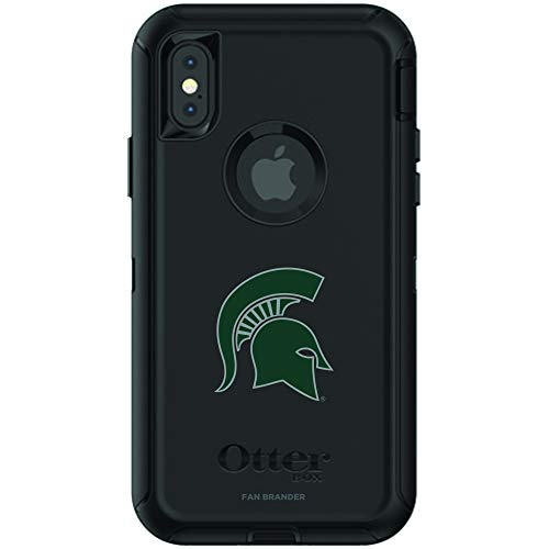 Fan Brander NCAA Black Phone case with School Logo, Compatible with Apple iPhone X and Apple iPhone Xs and with OtterBox Defender Series (Michigan State Spartans)