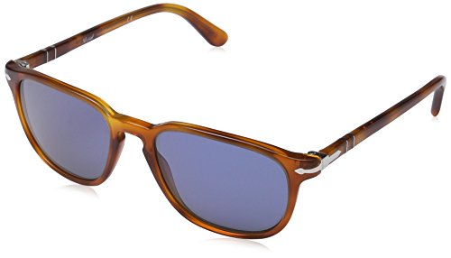 Persol Men's 0PO3019S 96/56 55 Square Sunglasses,Light Havana Frame/Blue Lens,One - Glasses Mens Persol
