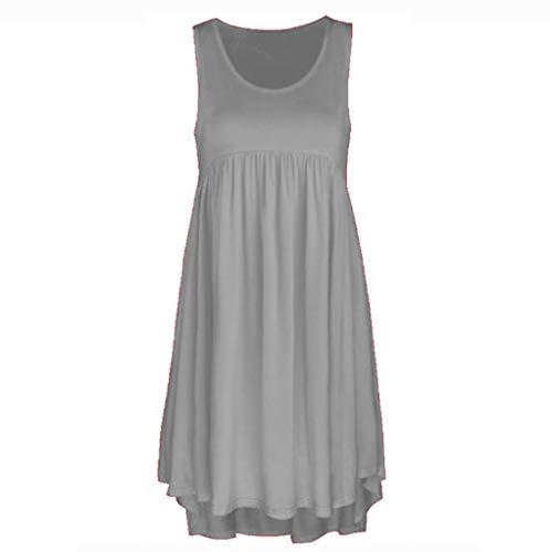 Kulywon Lace Dress Women O Neck Casual Lace Sleeveless Above Knee Dress Loose Party Mini Dress Gray
