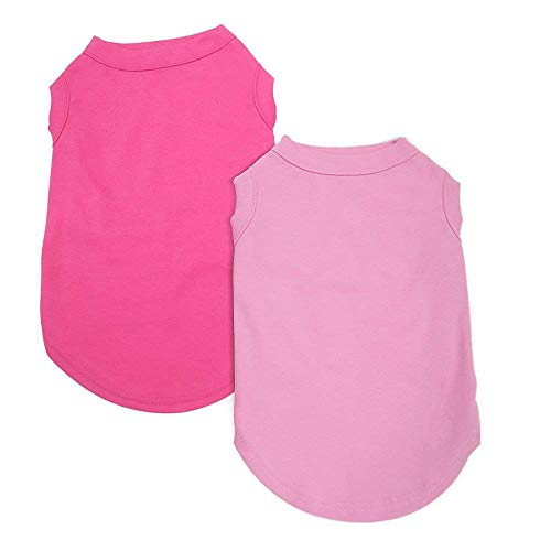 EXPAWLORER 2Pcs Dog Shirt Breathable Dog T-Shirt Soft Custom Clothes for Small Dogs, Pink & Rose Red