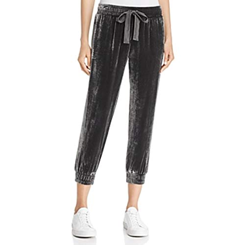 Bella Dahl Womens Crushed Velvet Cropped Sweatpants Gray L ()
