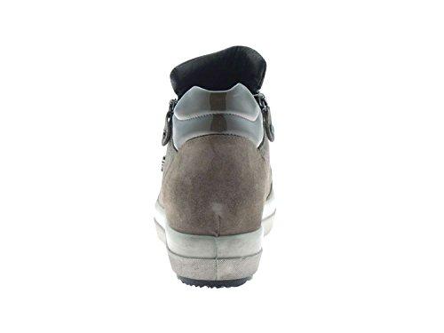 DSY 16754 VISONE.Sneaker alta doppia zip.Visone.38