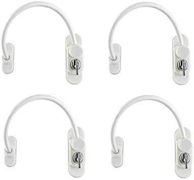 2Packs Window Restrictor Locks Security Cable for Child Baby Safety Window Locks Door Locks with Screws Keys