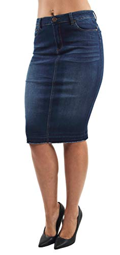 - Women's Junior Butt Lift, Push Up, Knee Length Midi Pencil Denim Skirt in Dark Blue Size M