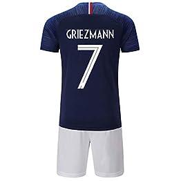 LJP FFF Football Coupe du Monde Sportswear équipe Champion Maillot 2018 Coupe du Monde Deux étoiles avec Shorts,blue7,24