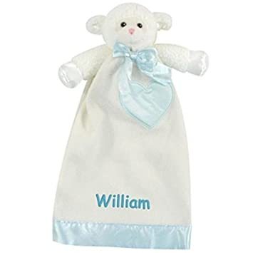 Amazon personalized baptism gift lovable lamb security personalized baptism gift lovable lamb security blanket lovie 15 inch pink embroidery negle Image collections
