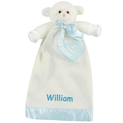 Personalized Baptism Gift – Lovable Lamb Security Blanket Lovie – 15 inch Blue