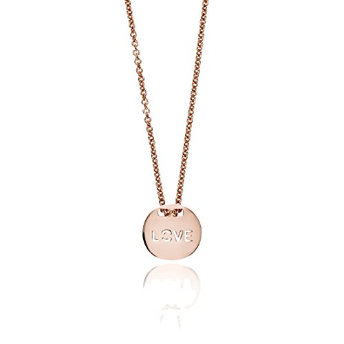 - SEVEN50 Circle Love Disc Charm Large Necklace Rose Gold Extremely Durable 9K Rose Gold Real Classic with Gift Box