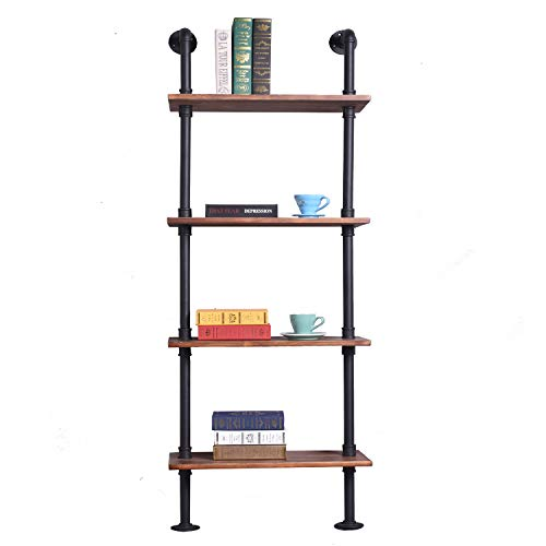 Diwhy Industrial Rustic Modern Wood Ladder Pipe Wall Shelf 4 Layer Black Pipe Design Bookshelf DIY Shelving