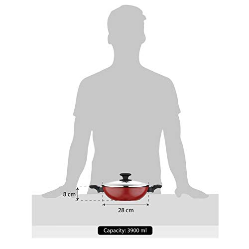 BERGNER-Scarlett-Forged-Aluminium-Non-Stick-Kadhai-with-Glass-Lid-24-cm-25-Liters-Induction-Base-Maroon