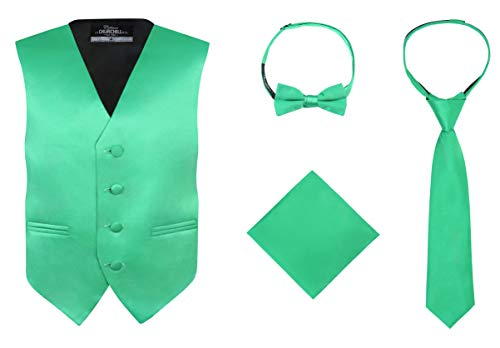S.H. Churchill & Co. Boy's 4 Piece Vest Set, with Bow Tie, Neck Tie & Pocket Hankie, Kelly Green Size 16