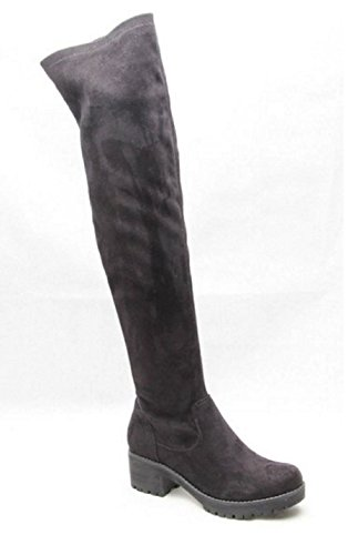 Womens Ladies Suede Over The Knee Ankle Boots Shoes Block Heel Platform Stretch Black UZuvq13k