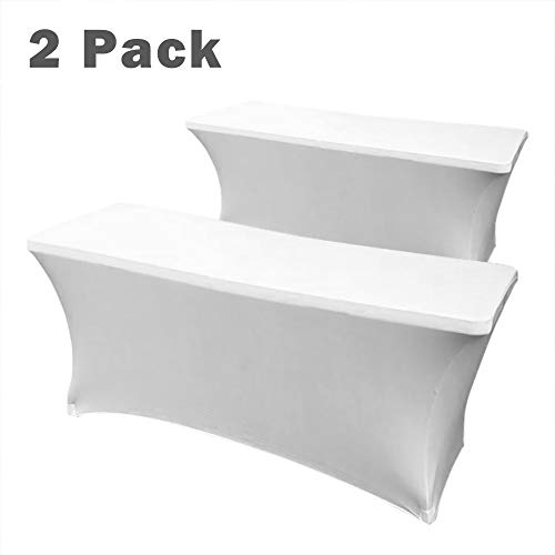 Hipinger 2 Pack Stretch Spandex Table Cover for 6 Ft Rectangular Tables, 72