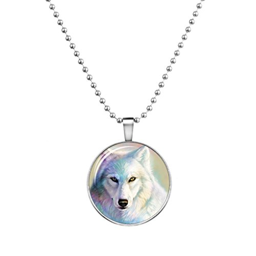 Liavy's Wolf Charm Pendant Fashionable Glass Necklace - Glow in the Dark - 23