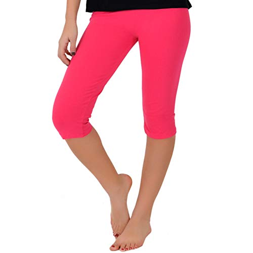 Stretch is Comfort Girl's Knee-Length Leggings Hot Pink Large -
