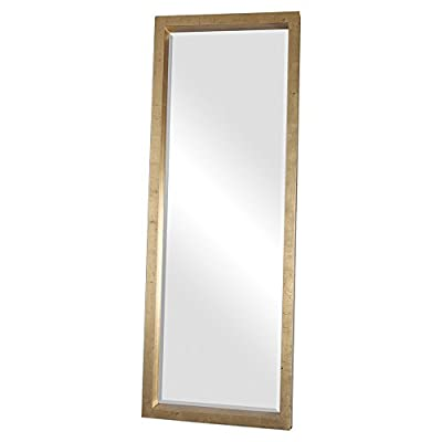 Kathy Kuo Home Eda Hollywood Antique Gold Block Floor Mirror - 76 inches high x 28 inches wide x 5 inches deep Constructed from wood and mirrored glass Finished in lightly antiqued gold leaf - mirrors-bedroom-decor, bedroom-decor, bedroom - 31PHe 5S9xL. SS400  -