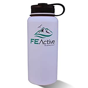 FE Active - 32oz Eco Friendly, BPA Free, Double Walled (Inner/Outer Wall 18/8 Grade 304/ss) Vacuum Insulated, Powder Coated, Stainless Steel Water Bottle Flask Canteen. Cold 24 hrs & hot 12 hrs White