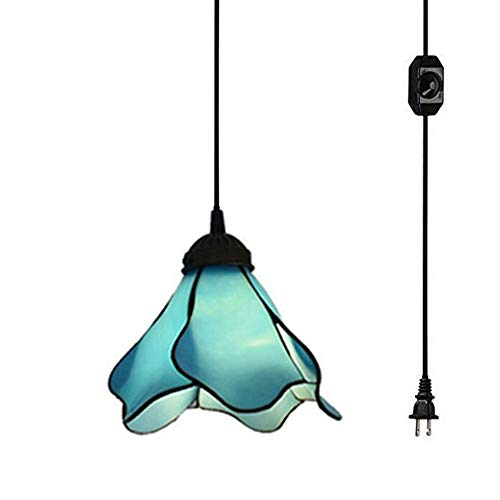 Kiven Plug-in Mediterranean Style PMMA Mini Pendant Lamp Retro Lighting 15ft UL Certification Black Cord with On/Off Dimmer Switch, Bulb Sold Separately (TB0059)