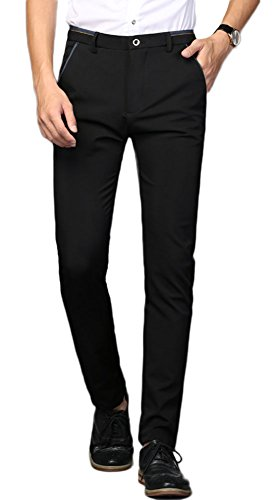 (Plaid&Plain Men's Stretch Dress Pants Slim Fit Skinny Suit Pants 7108 Black 30W34L )