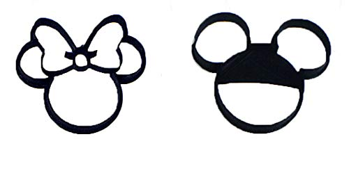 MICKEY AND MINNIE MOUSE HEADS SET OF 2 SPECIAL OCCASION COOKIE CUTTERS BAKING TOOL 3D PRINTED MADE IN USA PR1017]()