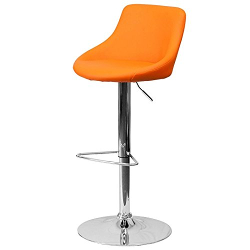 - KLS14 Modern Design Bar Stool Bucket Seat Design Hydraulic Adjustable Height 360-Degree Swivel Seat Sturdy Steel Frame Chrome Base Dining Chair Bar Pub Stool Home Office Furniture - (1) Orange #1985