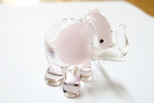 - Wildlife MINIATURE HAND BLOWN GLASS New Glass Elephant Pink FIGURINE Collection