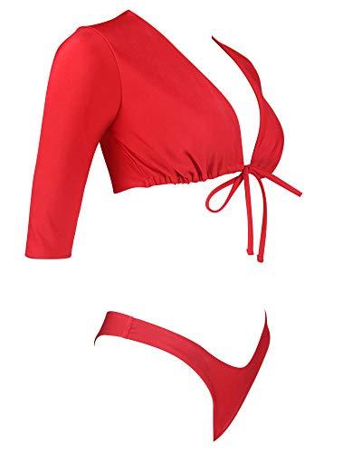 743e2cdfa1 RXRXCOCO Women Thong Bikini Swimsuit High Waist Rash Guard Two Piece Sporty  Bathing Suit