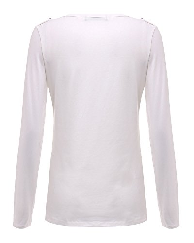 Automne Minetom V Col Printemps Longues Sexy Blanc Tops Hiver Femmes Manches Blouse Chemisier Slim UEETHWr