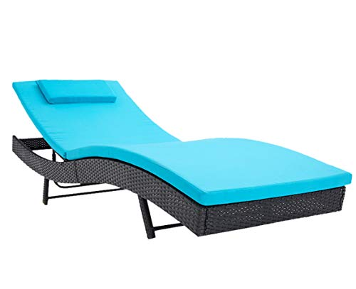 (Incbruce Outdoor Patio Furniture Adjustable Chaise Lounge Chair Set All-Weather Sun Chaise Lounge Furniture | Black Wicker and Turquoise Thick Cushion)